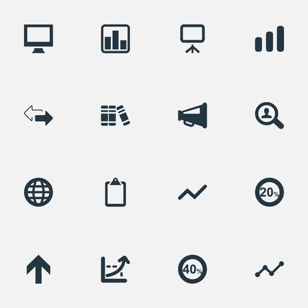 벡터 일러스트 레이 션 간단한 다이어그램 아이콘의 집합입니다. 요소 돋보기, 상향, 디스플레이 및 기타 동의어 드리프트, 검색 및 세계.
