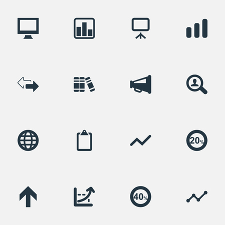 Vector Illustration Set Of Simple Diagram Icons. Elements Magnifier, Upward, Display And Other Synonyms Drift, Search And World.