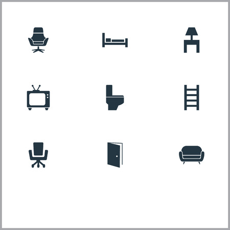 Vector Illustration Set Of Simple Furnishings Icons. Elements Entry, Tv, Stairway And Other Synonyms Bedside, Television And Bed.