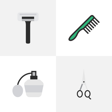 Vector Illustration Set Of Simple Hairdresser Icons. Elements Scissors, Hairbrush, Perfume And Other Synonyms Shaver, Blade And Shear.