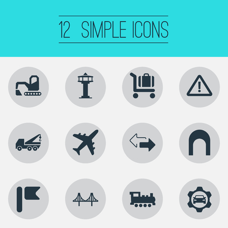 Vector Illustration Set Of Simple Infrastructure Icons. Elements Retro Locomotive, Golden Gate, Aviation And Other Synonyms Locomotive, Rail And Aviation.