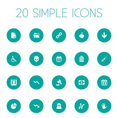 Vector Illustration Set Of Simple Impasse Icons. Elements Handicapped Man, Palm , Head Bone Synonyms Down, Trolley And Court.