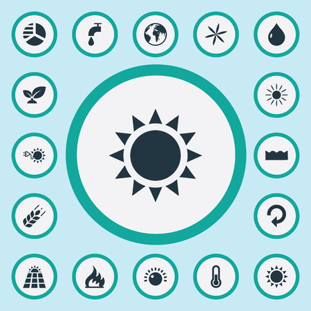 Vector Illustration Set Of Simple Energy Icons. Elements Sun Power, Daylight, Alternative Electric And Other Synonyms Sunglow, Flame And Recycling. Illustration