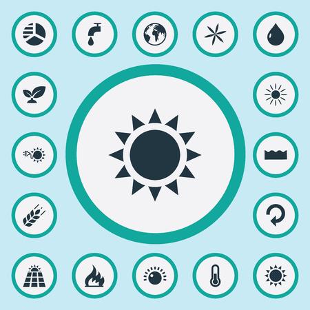 Vektor-Illustrations-Satz einfache Energie-Ikonen. Elemente Sun Power, Tageslicht, alternative elektrische und andere Synonyme Sunglow, Flamme und Recycling. Standard-Bild - 87484298