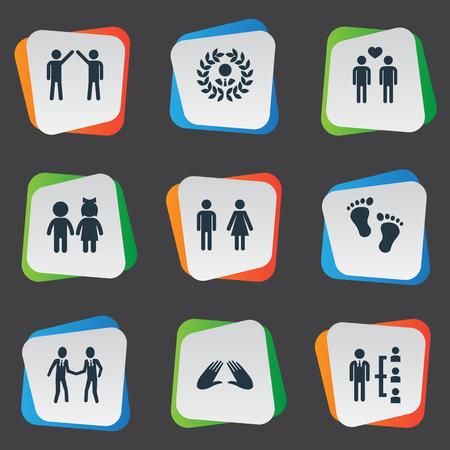 簡単な仲間のアイコンのベクトル イラスト セット。要素の仲間、子供、同僚、他類義語コミュニケーション、ジェンダーし、注文します。