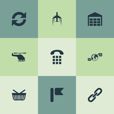 Vector Illustration Set Of Simple Engineering Icons. Elements Relation, Storage, Global Trade And Other Synonyms Arrow, Parcel And Air. Иллюстрация