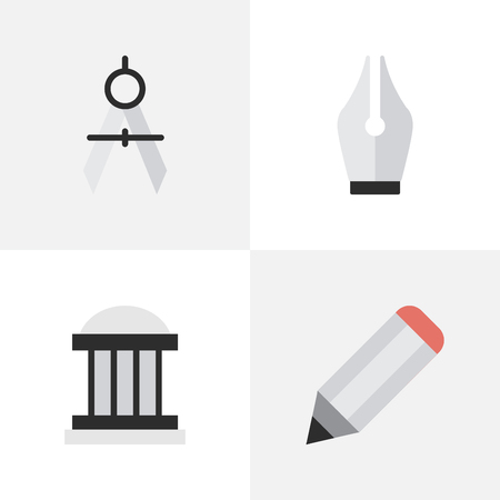 round: Vector Illustration Set Of Simple Education Icons. Elements Measurement Dividers, Nib, Pen And Other Synonyms Drawing, Ink And University.