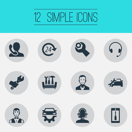 Vector Illustration Set Of Simple Support Icons. Elements Wrench, Telephone Setting, Earmuff And Other Synonyms Waiter, Hours And Staff. Illustration