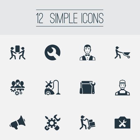 Vector illustratie Set van eenvoudige Help-pictogrammen. Elements Renovation Equipment, Instrument, Notice And Other Synoniemen Uniform, Courier And Tool. Stock Illustratie