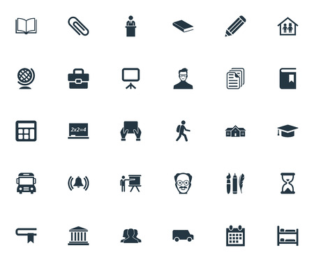 Vector Illustration Set Of Simple Knowledge Icons. Elements Courthouse, Student, Paperclip And Other Synonyms Suitcase, Pencil And Lesson.