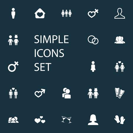 Vector Illustration Set d'icônes aimées simples. Elements Woman, Dissolvez le mariage, les enfants et autres synonymes Gentleman, Love And Wife. Banque d'images - 87407303