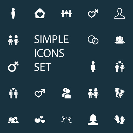 Vector Illustration Set Of Simple Beloved Icons. Elements Woman, Dissolve The Marriage, Children And Other Synonyms Gentleman, Love And Wife.