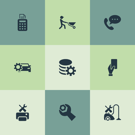 Vector Illustration Set Of Simple Information Icons. Elements Spanner, Smartphone, Pos Terminal And Other Synonyms Printer, Gear And Automobile.