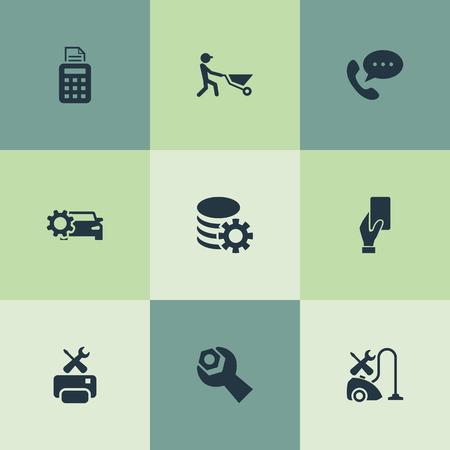 Vector illustratie Set van eenvoudige informatie iconen. Elementen Spanner, Smartphone, Pos Terminal en andere synoniemenprinter, uitrusting en auto. Stock Illustratie