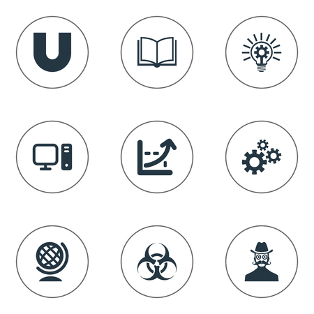 Vector Illustration Set Of Simple Knowledge Icons. Elements Globe, Computer, Sleuth And Other Synonyms Gears, Magnet And Setting.