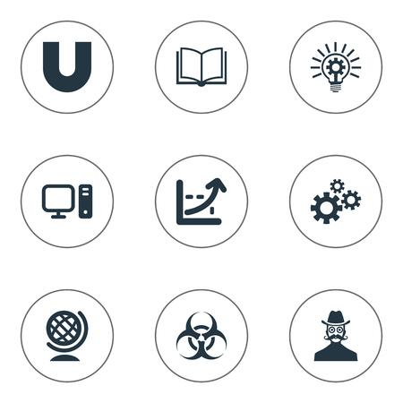 Vector illustratie Set van eenvoudige kennis iconen. Elementen wereld, computer, sleuth en andere synoniemen Gears, magneet en instelling.