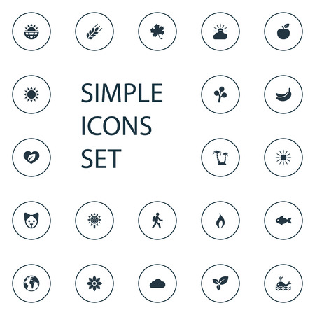 Vector Illustration Set Of Simple Geo Icons. Elements Cloud, Sunlight, Fresh Food And Other Synonyms Sun, Banana And Tourist. Illustration