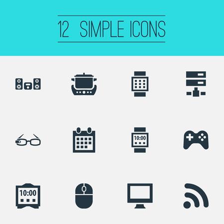 シンプルな Web アイコンのベクター イラスト セット。要素の制御装置、オーブン、ネットワーク、他の同義語眼鏡、オーブン、調理。