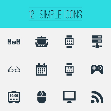 Vector Illustration Set Of Simple Web Icons. Elements Control Device, Oven, Network And Other Synonyms Spectacles, Oven And Cooking.