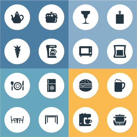 簡易キッチンのアイコンのベクトル イラスト セット。要素鍋、チョッピング木材、レストラン、他の同義語のキッチン メーカー、ティーポット。  イラスト・ベクター素材