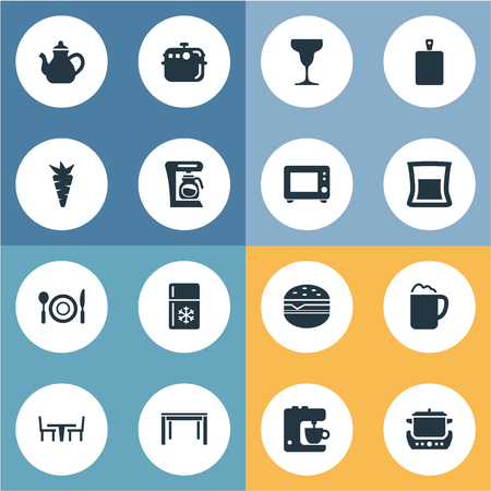 Vector Illustration Set Of Simple Kitchen Icons. Elements Saucepan, Chopping Wood, Restaurant And Other Synonyms Kitchen, Maker And Teapot. Çizim