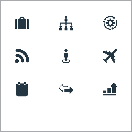 Vector Illustration Set Of Simple Strategy Icons. Elements Subordination, Process, Trip And Other Synonyms Chart, Process And Briefcase.