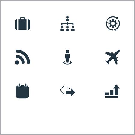 Vector illustratie Set van eenvoudige strategie iconen. Elements Subordination, Process, Trip And Other Synoniemen Chart, Process and Briefcase.