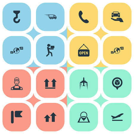 Vector Illustration Set Of Simple Engineering Icons. Elements Air Transport, Hook, Call Up And Other Synonyms Marker, Navigation And Address.