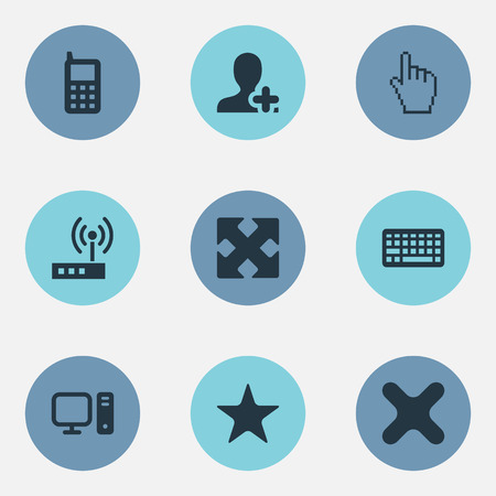 Vector Illustration Set Of Simple Technology Icons. Elements Modem, Mobile, Computer And Other Synonyms Best, Telephone And Maximize.