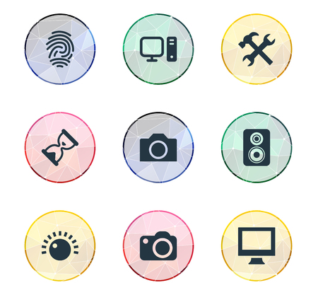 Vector Illustration Set Of Simple Gadget Icons. Elements Amplifier, Monitor, Personal Computer And Other Synonyms Settings, Tuning And Clock.