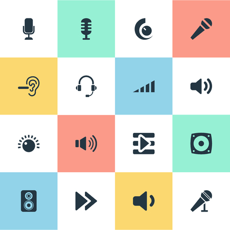 Vector Illustration Set Of Simple Play Icons. Elements Rewind, Sound, Reduce And Other Synonyms Volume, Communication And Quiet.