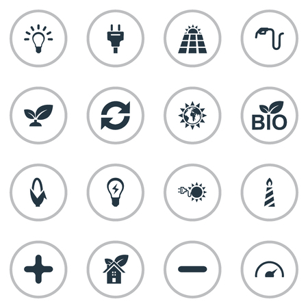 Vector Illustration Set Of Simple Energy Icons. Elements Eco Home, Negative, Bulb And Other Synonyms Earth, Plant And Idea.