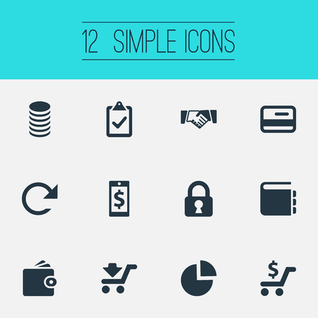 Vector Illustration Set Of Simple Finance Icons. Elements Supervision List, Credit Card, Notebook And Other Synonyms Notebook, Shopping And Segmentation.