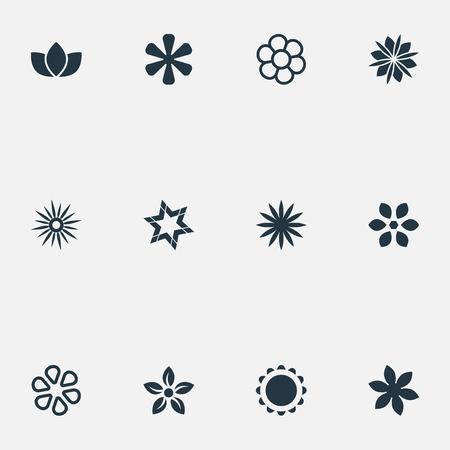 シンプルなアイコンのベクトルイラストセット。要素フローラル、ダフネ、装飾やその他の同義語デイジー、ビクトリアと小花。  イラスト・ベクター素材