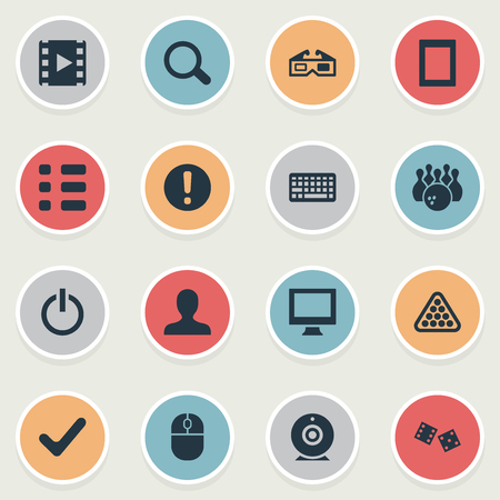 Vector Illustration Set Of Simple Leisure Icons. Elements Video, Cinema, Warning And Other Synonyms Attention, Leisure And Web. Ilustrace