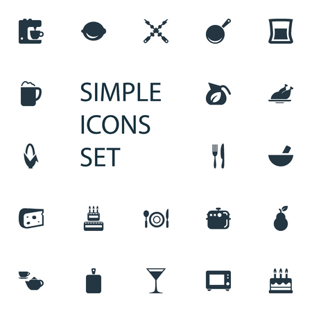 Vector Illustration Set Of Simple Gastronomy Icons. Elements Cheddar Slice, Maize Ear, Bbq And Other Synonyms Knife, Blender And Pub. Illustration