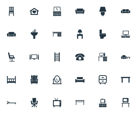 Vector Illustration Set Of Simple Furnishings Icons. Elements Stillage, Sideboard, Tv And Other Synonyms Sofa, Stairway And Call. Ilustração