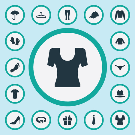 Vector Illustration Set Of Simple Wardrobe Icons. Elements Strap, T-Shirt, Lingerie And Other Synonyms Rack, Winter And Sweatshirt. Ilustracja