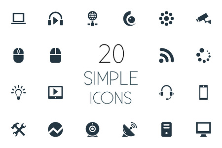 Vector Illustration Set Of Simple Gadget Icons. Elements Loading, Waiting, Wireless Connection And Other Synonyms Notebook, Headphone And Tablet. Stock Photo