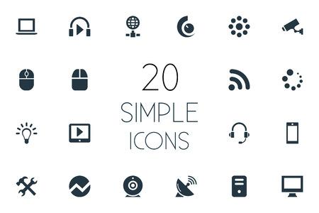 Vector illustratie Set van eenvoudige gadget pictogrammen. Elementen laden, wachten, draadloze verbinding en andere synoniemen Notebook, hoofdtelefoon en tablet.