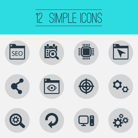 Vector Illustration Set Of Simple SEO Icons. Elements Share, Sniper, Motherboard And Other Synonyms Repeat, Tab And Loupe.