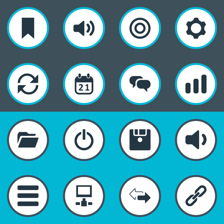 Vector Illustration Set Of Simple Practice Icons. Elements Diskette, Speaker, Reload And Other Synonyms Datacenter, Begin And Volume.