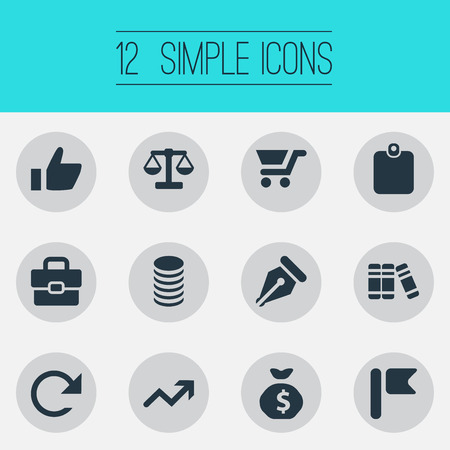 Vectorillustratiereeks Eenvoudige Bankwezenpictogrammen. Elementenwimant, Portfolio, Literatuur en andere synoniemenmarkering, wegen en mens.