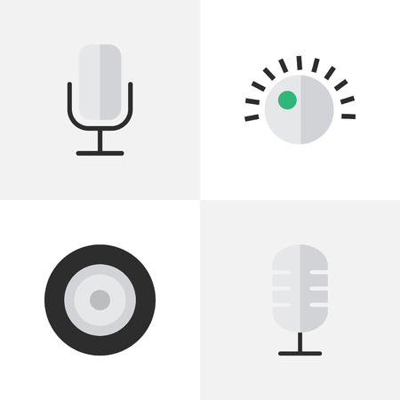 Vector Illustration Set Of Simple Music Icons. Elements Microphone, Loudspeaker, Record And Other Synonyms Loudspeakers, Record And Mic.