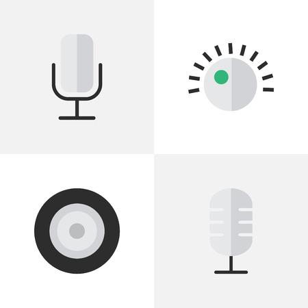 Vector illustratie Set van eenvoudige muziek iconen. Elementen Microfoon, Luidspreker, Record en andere synoniemenluidsprekers, Record en Mic. Stockfoto