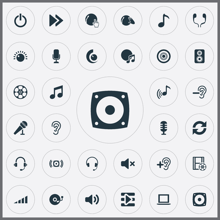 Vector Illustration Set Of Simple Play Icons. Elements Earmuff, Speaker, Music And Other Synonyms Bass, Laptop And Microphone.