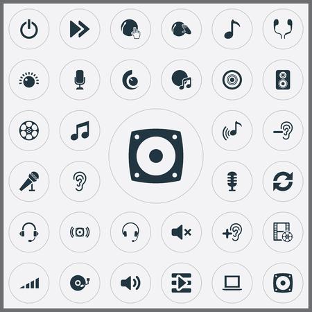 Vector illustratie Set van eenvoudige spelen iconen. Elements oorbeschermer, luidspreker, muziek en andere synoniemenbassen, laptop en microfoon. Stockfoto
