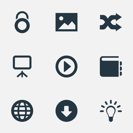 Vector Illustration Set Of Simple Web Icons. Elements Picture, Whiteboard, Play And Other Synonyms Mix, World And Privacy.