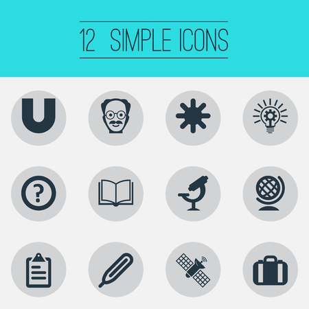 Vector Illustration Set Of Simple Study Icons. Elements Query, Globe, Temperature Measurement And Other Synonyms Earth, Geography And Snow. Stock Photo