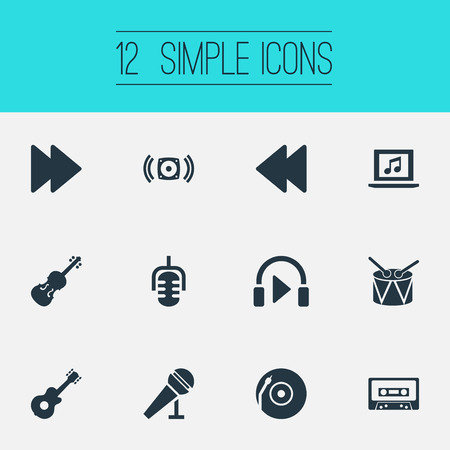 Vector Illustration Set Of Simple Sound Icons. Elements Instrument, Speech, Listen And Other Synonyms Mike, Loudspeaker And Speech.